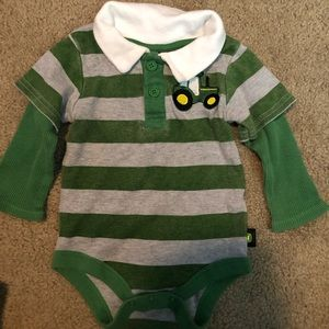 Infant John Deere Long Sleeve Onesie 6-9 M Tractor